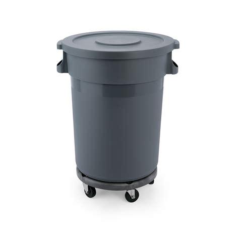 abfallbehälter kunststoff mit deckel abfallbeh 228 lter mit transporttrolley und flachdeckel