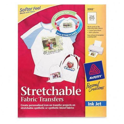 avery printable iron on transfers avery stretchable fabric iron on transfer 5 pack