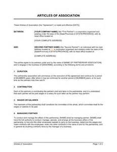 articles of association template amp sample form biztree com