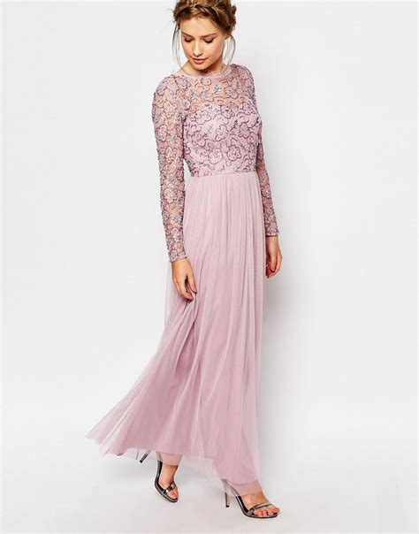 Maxi Frill Dress frock and frill embellished lace overlay maxi dress in