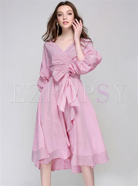 Naira Dress Pink St puff sleeve v neck pink dress ezpopsy