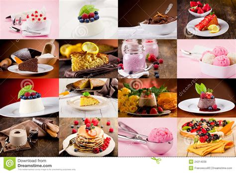 desserts around the world delicious collection of cakes cookies muffins pies cupcakes creams recipes books dessert collage stock image image of leaves dessert