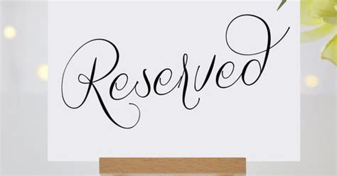 printable reserved table signs reserved signs for wedding reserved table sign