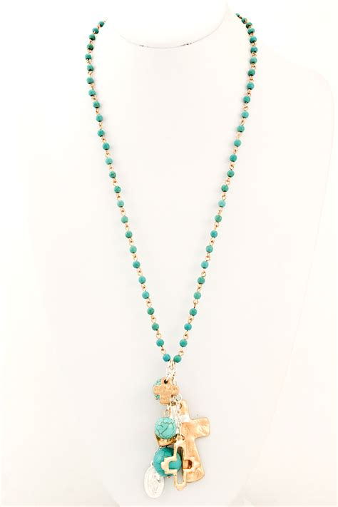 semi precious beaded cross necklace necklaces
