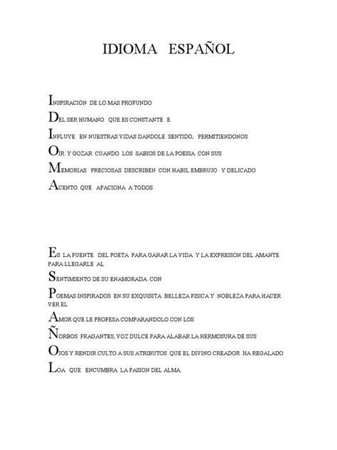 Acrostico De La Palabra En Ingles Espanol | acrostico idioma espa 209 ol