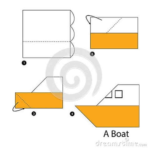 step by step how to make origami boat stock