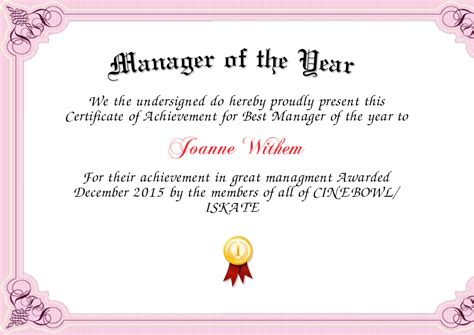 manager of the month certificate template manager of the year certificate created with