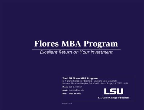 Https Business Lsu Edu Flores Mba Pages Flores Mba Program Aspx by Time Master Of Business Administration Program At
