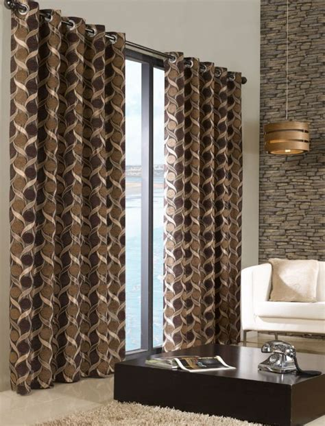 brown patterned eyelet curtains stylish trendy ringtop eyelet lined circle pattern