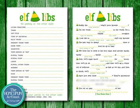 free printable elf mad libs elf libs movie quotes printable christmas party game