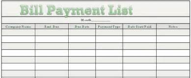 payment list template excel monthly bill organizer template excel monthly bill