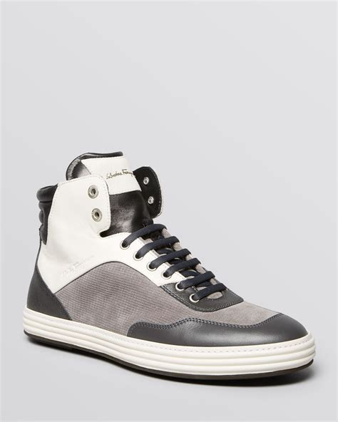 salvatore ferragamo sneakers lyst ferragamo palestro high top sneakers in black for