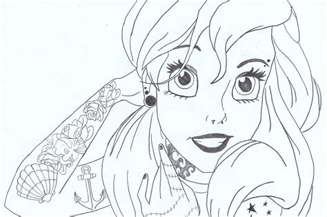 Hipster Princess Coloring Pages | punk ariel by lasconi on deviantart