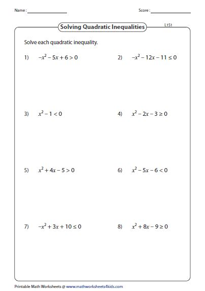 Quadratic Inequalities Worksheet With Answers by Quadratic Inequalities Worksheets