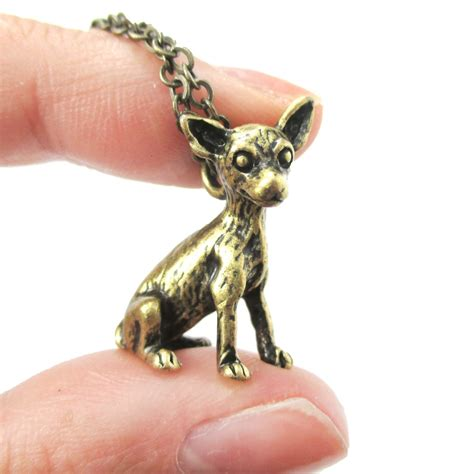 puppy necklace 3d realistic chihuahua animal charm breed inspired necklace in brass 183 dotoly