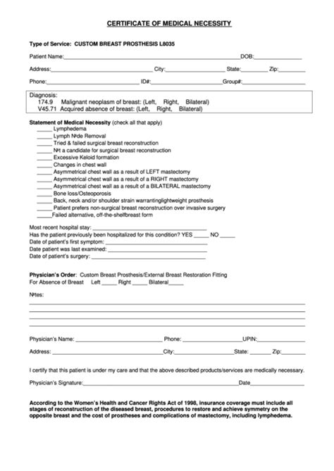 Certificate Of Medical Necessity Printable Pdf Download Certificate Of Necessity Form Template