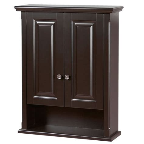 dark wood bathroom wall cabinet