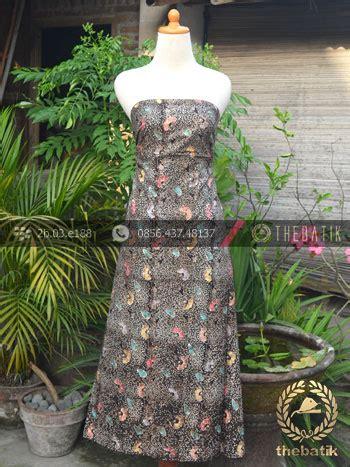 Dress Batik Cap Wonogiren Lucia kain batik remukan coletan floral kembang hitam thebatik