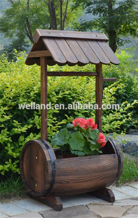 Well Planter by Fashioned Wooden Barrel Planters Garden Patio