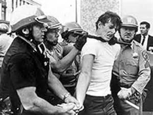 The first student protests were organized sit ins based upon a variety