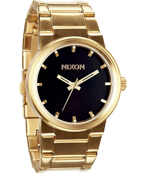 nixon cannon gold black analog