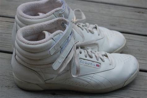 vintage 80s 90s reebok freestyle high top hi top white