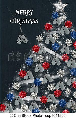 stock illustration  military christmas military dog tags  holiday tree  csp