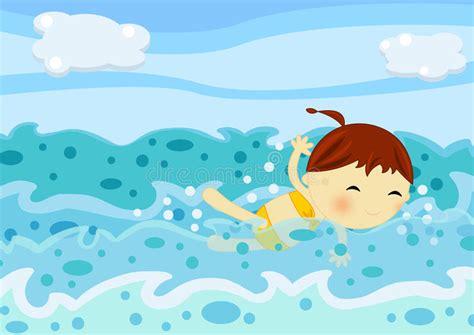clipart nuoto nuoto sveglio della bambina fra le onde mare
