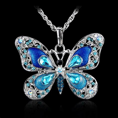 beautiful rhinestone butterfly necklaces sweater