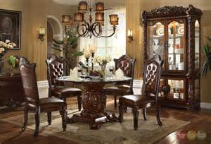 Traditional Glass Dining Tables Vendome Traditional Glass Top 54 Quot Dining Table In Brown Cherry