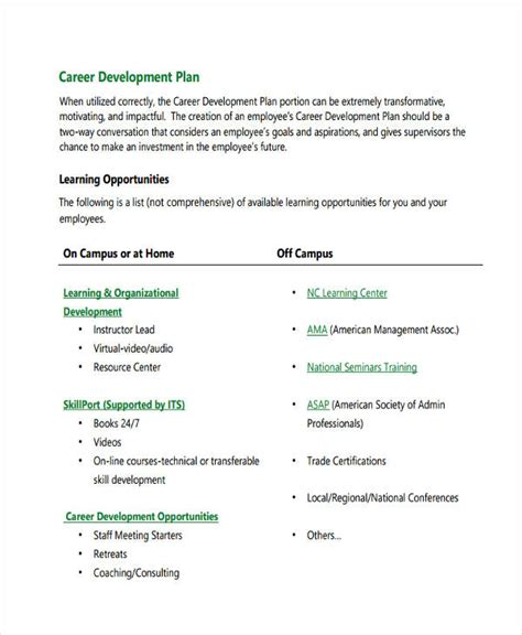 56 Development Plan Exles Sles Pdf Word Pages Career Development Plan Template For Employees