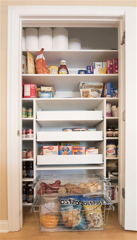 narrow pantry with pull out pantry shelves located