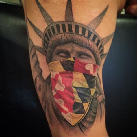 maryland flag tattoo maryland statue of liberty by stevie monie tattoos