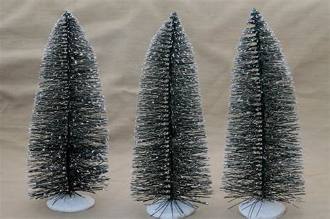 bottle brush pine trees w flocked snow tree forest for