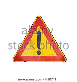 final cut pro yellow triangle exclamation point hazard warning triangle isolated on a white background