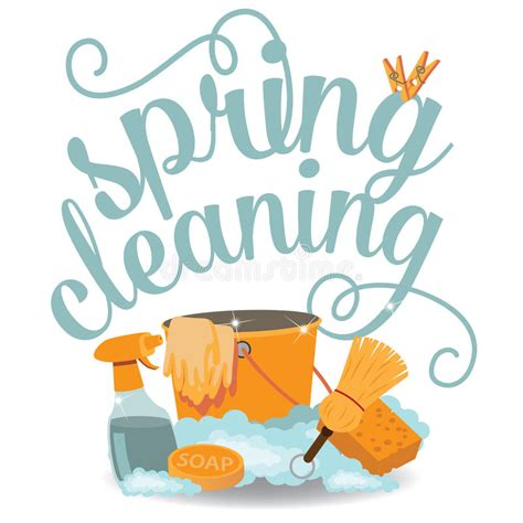 cleaning blogs spring cleaning cheerful flat design eps 10 vector stock