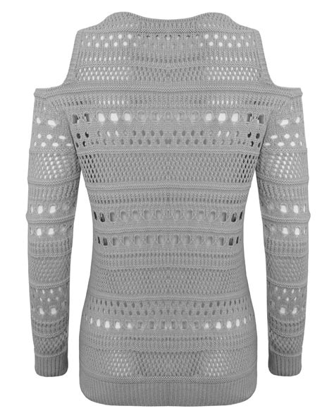 knitting pattern holey jumper ladies womens knitted shoulder cut out long sleeves holey