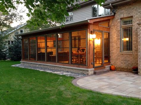 Sunroom Roofs Screen Porch With Fireplace Amp Patio With Fire Pit Rustic