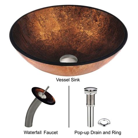 vigo russet glass vessel vigo glass vessel in russet with waterfall faucet set
