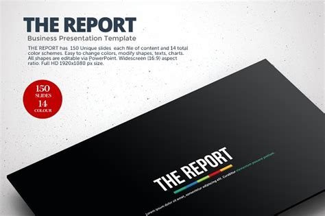 The Report Powerpoint Template Presentation Templates On Creative Market Powerpoint Report Template