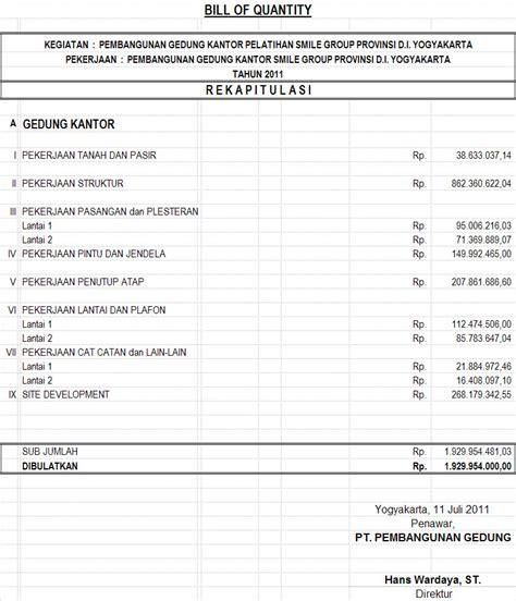 contoh laporan quantity surveyor rab pelatihan teknologi informasi sdm yogyakarta