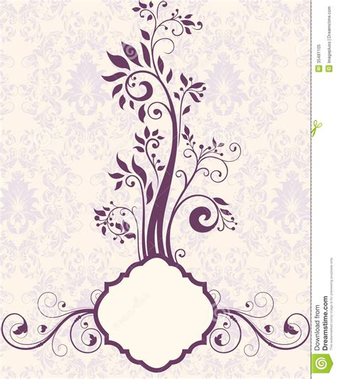 free invitation card designs 5 purple floral bridal shower invitation stock vector