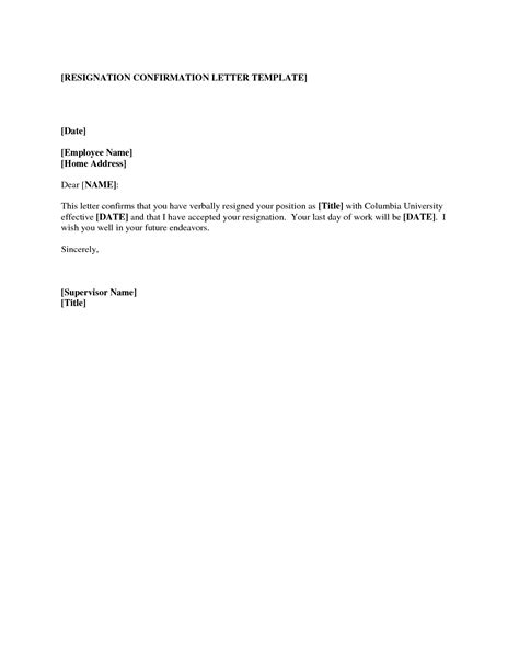 Letter Of Resignation Template by Professional Template And Sles To Create Effective Resignation Letter Vlcpeque