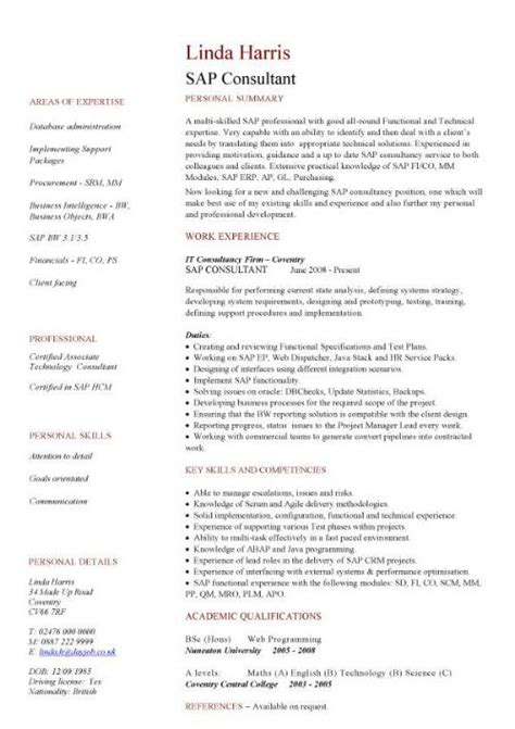 sap cv template it cv template cv library technology description