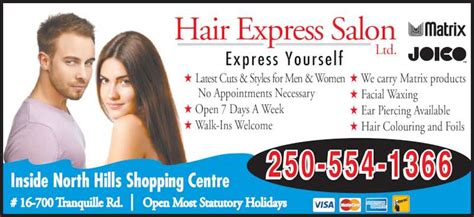 haircuts ltd hours hair express salon opening hours 16 700 tranquille rd