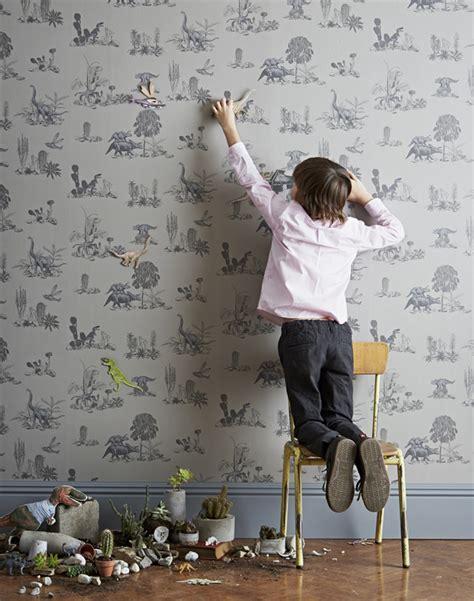 Magnetische Tapete by Dinosaur Magnetic Wallpaper In Grey For Children