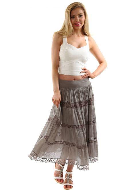 monton skirt taupe silk maxi skirt with lace designer