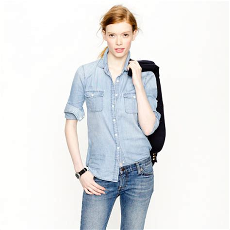 Pastel Blouse Happy Celana Denim summer essentials the washed denim shirt fashion in motion