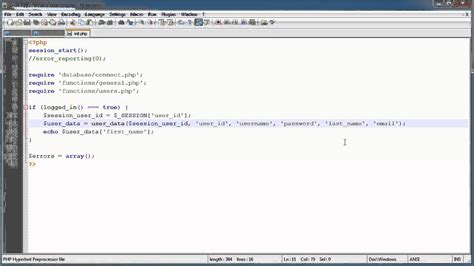 php tutorial login and register php tutorials register login part 7 user data part