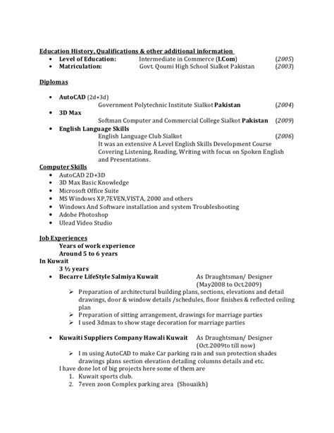 Some Exle Of Resume by Resume For Draughtsman